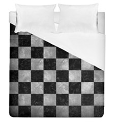 Square1 Black Marble & Gray Metal 2 Duvet Cover (queen Size) by trendistuff