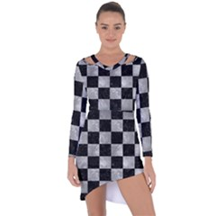 Square1 Black Marble & Gray Metal 2 Asymmetric Cut Out Shift Dress