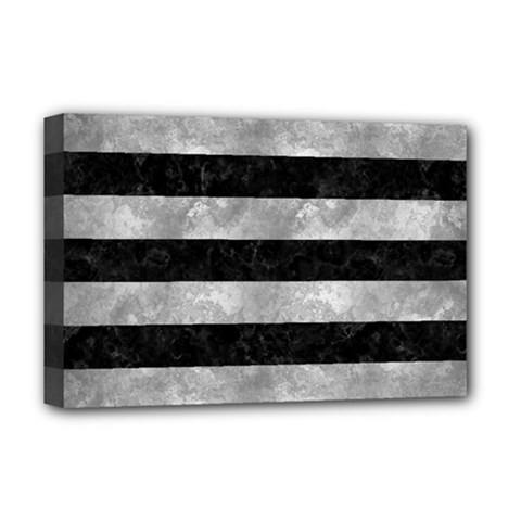 Stripes2 Black Marble & Gray Metal 2 Deluxe Canvas 18  X 12   by trendistuff