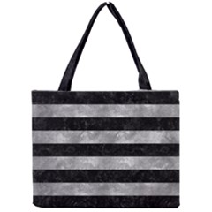 Stripes2 Black Marble & Gray Metal 2 Mini Tote Bag by trendistuff