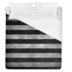 Stripes2 Black Marble & Gray Metal 2 Duvet Cover (queen Size) by trendistuff
