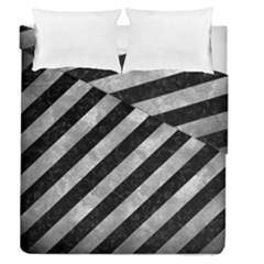 Stripes3 Black Marble & Gray Metal 2 Duvet Cover Double Side (queen Size) by trendistuff