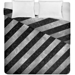 Stripes3 Black Marble & Gray Metal 2 Duvet Cover Double Side (king Size) by trendistuff