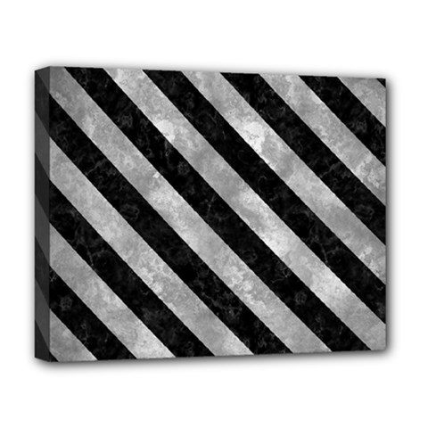 Stripes3 Black Marble & Gray Metal 2 (r) Deluxe Canvas 20  X 16   by trendistuff