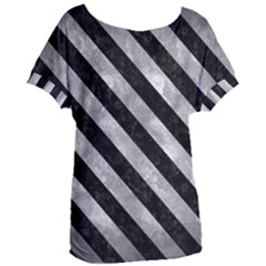 Stripes3 Black Marble & Gray Metal 2 (r) Women s Oversized Tee