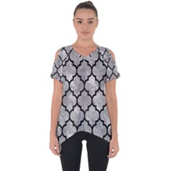 Tile1 Black Marble & Gray Metal 2 (r) Cut Out Side Drop Tee