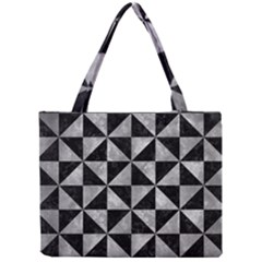 Triangle1 Black Marble & Gray Metal 2 Mini Tote Bag by trendistuff