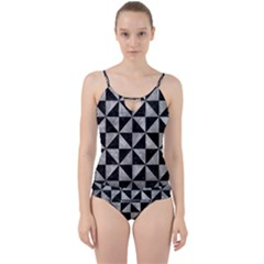 Triangle1 Black Marble & Gray Metal 2 Cut Out Top Tankini Set