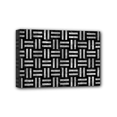 Woven1 Black Marble & Gray Metal 2 Mini Canvas 6  X 4
