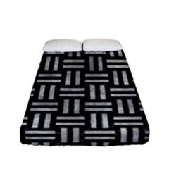 Woven1 Black Marble & Gray Metal 2 Fitted Sheet (full/ Double Size) by trendistuff