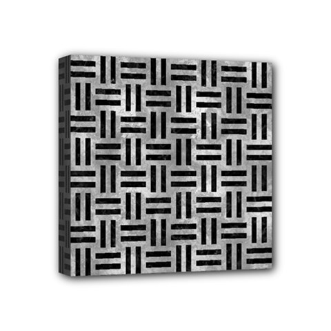 Woven1 Black Marble & Gray Metal 2 (r) Mini Canvas 4  X 4  by trendistuff
