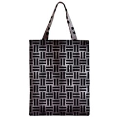 Woven1 Black Marble & Gray Metal 2 (r) Zipper Classic Tote Bag by trendistuff