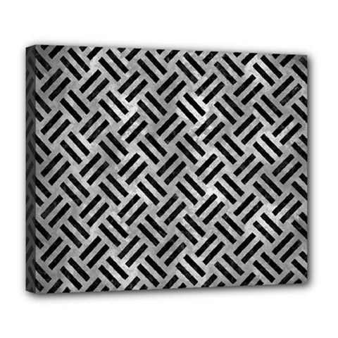 Woven2 Black Marble & Gray Metal 2 (r) Deluxe Canvas 24  X 20   by trendistuff