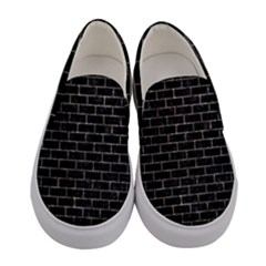 Brick1 Black Marble & Gray Stone Women s Canvas Slip Ons