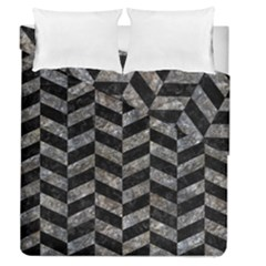 Chevron1 Black Marble & Gray Stone Duvet Cover Double Side (queen Size) by trendistuff