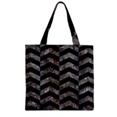 Chevron2 Black Marble & Gray Stone Zipper Grocery Tote Bag by trendistuff