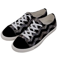 Chevron3 Black Marble & Gray Stone Women s Low Top Canvas Sneakers by trendistuff