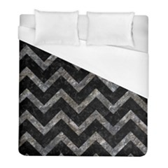 Chevron9 Black Marble & Gray Stone Duvet Cover (full/ Double Size) by trendistuff