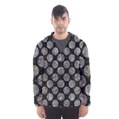 Circles2 Black Marble & Gray Stone Hooded Wind Breaker (men)