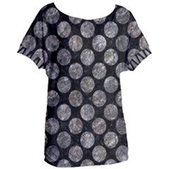 Circles2 Black Marble & Gray Stone Women s Oversized Tee