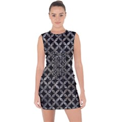 Circles3 Black Marble & Gray Stone Lace Up Front Bodycon Dress