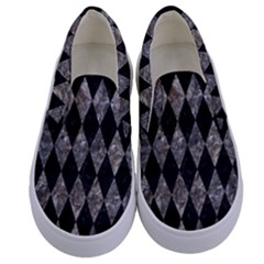 Diamond1 Black Marble & Gray Stone Kids  Canvas Slip Ons