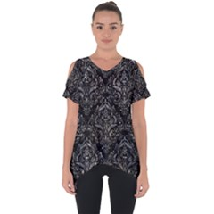 Damask1 Black Marble & Gray Stone Cut Out Side Drop Tee