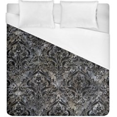Damask1 Black Marble & Gray Stone (r) Duvet Cover (king Size) by trendistuff