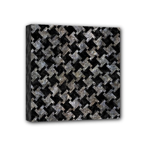 Houndstooth2 Black Marble & Gray Stone Mini Canvas 4  X 4  by trendistuff
