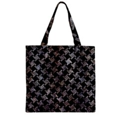 Houndstooth2 Black Marble & Gray Stone Zipper Grocery Tote Bag by trendistuff