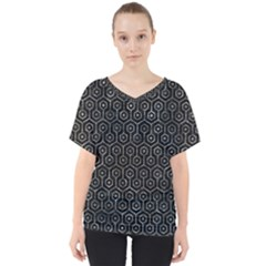 Hexagon1 Black Marble & Gray Stone V Neck Dolman Drape Top