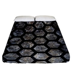 Hexagon2 Black Marble & Gray Stone (r) Fitted Sheet (california King Size) by trendistuff