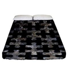 Puzzle1 Black Marble & Gray Stone Fitted Sheet (king Size) by trendistuff