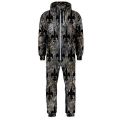 Royal1 Black Marble & Gray Stone Hooded Jumpsuit (men)