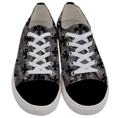 Royal1 Black Marble & Gray Stone Women s Low Top Canvas Sneakers