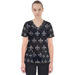 Royal1 Black Marble & Gray Stone (r) Scrub Top