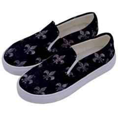 Royal1 Black Marble & Gray Stone (r) Kids  Canvas Slip Ons by trendistuff