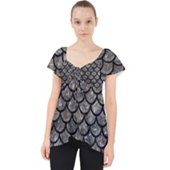 Scales1 Black Marble & Gray Stone (r) Lace Front Dolly Top