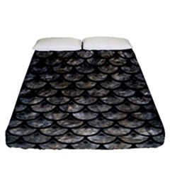 Scales3 Black Marble & Gray Stone (r) Fitted Sheet (queen Size) by trendistuff