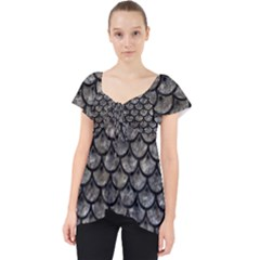 Scales3 Black Marble & Gray Stone (r) Lace Front Dolly Top