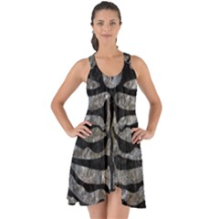 Skin2 Black Marble & Gray Stone (r) Show Some Back Chiffon Dress