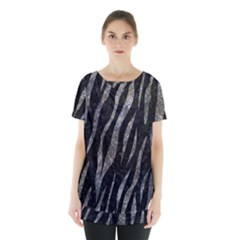 Skin3 Black Marble & Gray Stone Skirt Hem Sports Top
