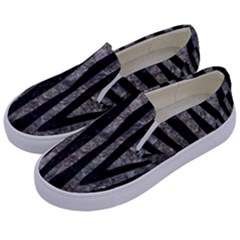 Skin4 Black Marble & Gray Stone Kids  Canvas Slip Ons by trendistuff