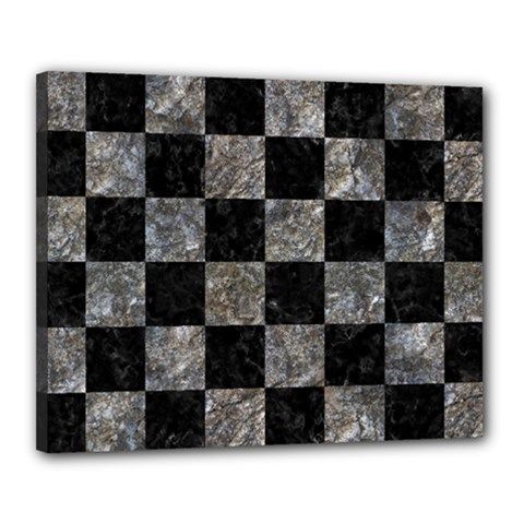 Square1 Black Marble & Gray Stone Canvas 20  X 16  by trendistuff