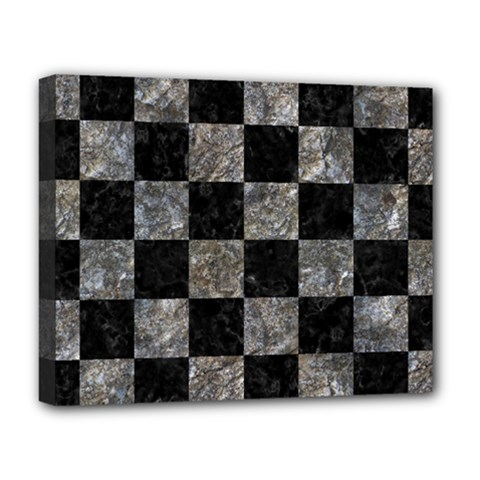 Square1 Black Marble & Gray Stone Deluxe Canvas 20  X 16   by trendistuff