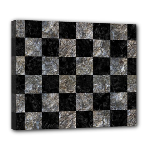 Square1 Black Marble & Gray Stone Deluxe Canvas 24  X 20   by trendistuff