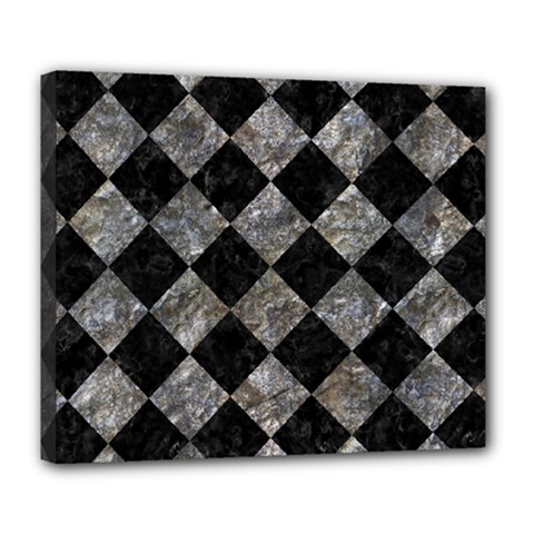 Square2 Black Marble & Gray Stone Deluxe Canvas 24  X 20   by trendistuff