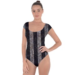 Stripes1 Black Marble & Gray Stone Short Sleeve Leotard  by trendistuff