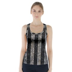 Stripes1 Black Marble & Gray Stone Racer Back Sports Top by trendistuff
