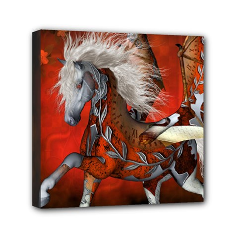 Awesome Steampunk Horse With Wings Mini Canvas 6  X 6  by FantasyWorld7